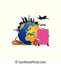 rosa, borsa, viaggiare, globo, illustrazione