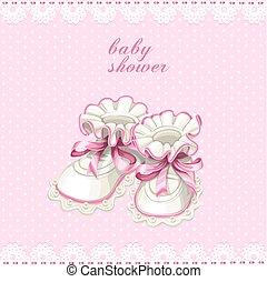 rosa, bottini bambino, scheda, doccia