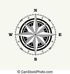 rosa, bussola, scala, navigational, (windrose)