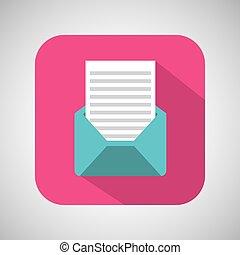rosa, busta, cartone animato, fondo, posta, uggia, email