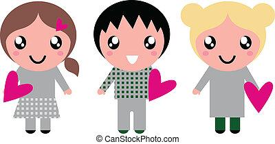 rosa, carino, bambini, isolato, cuori, bianco