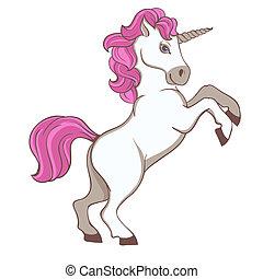rosa, carino, coda, criniera, unicorno, bianco