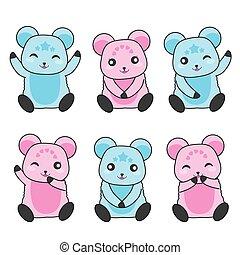 rosa, carino, orsi, blu, illustrazione, doccia, bambino