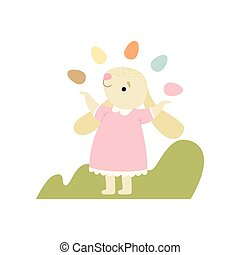 rosa, carino, uova, colorito, vestire, illustrazione, vettore, manipolazione, coniglietto pasqua, felice