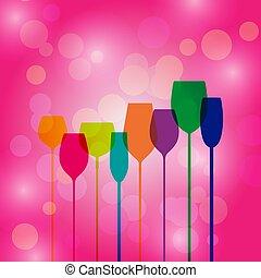 rosa, cocktail, silhouette, bokeh, fondo, festa, occhiali