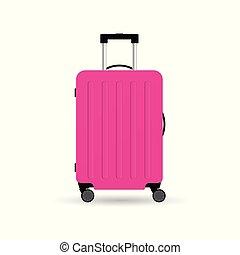 rosa, colorare, viaggiare, illustrazione, valigia, ruote