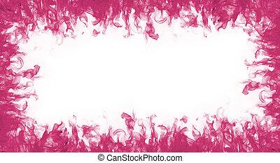 rosa, cornice incendio, sfondo bianco