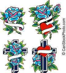 rosa, croce, tatuaggio