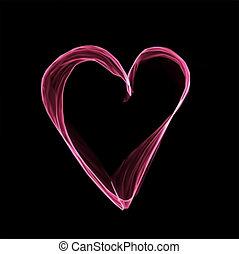 rosa, cuore, astratto, fondo., vettore, nero