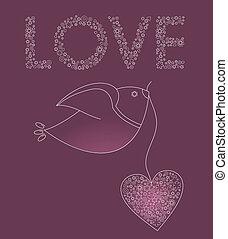 rosa, cuore, astratto, uccello