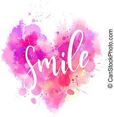 rosa, cuore, calligrafia, sorriso, testo