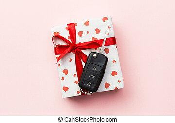 rosa, cuore, concetto, colorato, arco, rosso, vista., automobile, dare, scatola, cima, nastro, fondo, chiave, regalo, presente