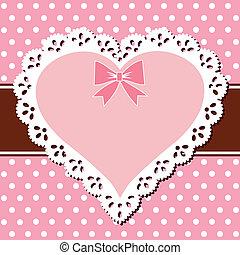 rosa, cuore, laccio