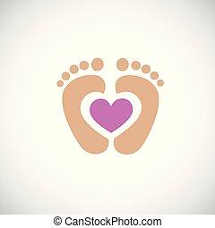 rosa, cuore, orma, piedi, bambino