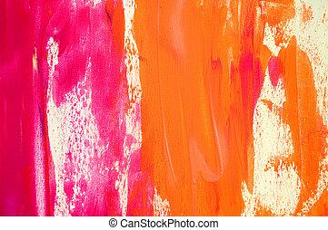 rosa, dipinto, astratto, fondo, arancia