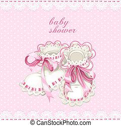 rosa, doccia, scheda, neonato, bottini, bambino