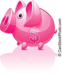 rosa, dollaro, banca piggy, segno