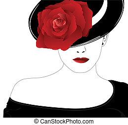 rosa, donna, cappello