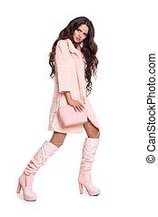 rosa, donna, porta, moda, cappotto cuoio, isolato, stivali, alto, fondo., moda, proposta, foto, trendy, studio, bianco, borsetta