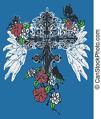 rosa, emblema, croce