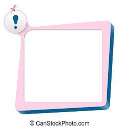 rosa, esclamazione, testo, scatola blu, marchio