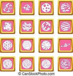 rosa, fantastico, pianeti, icone