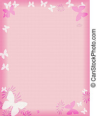 rosa, farfalla, bordo