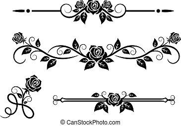 rosa, fiori, elementi, vendemmia