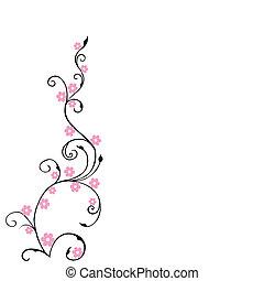 rosa, floreale, fiori, fondo, fogliame