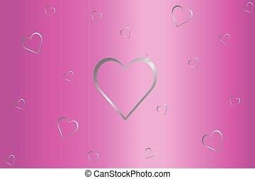 rosa, grigio, argento, fondo, cuori