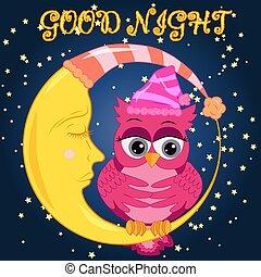 rosa, gufo, ninnananna, fare un sogno, lulls, canta, dolce, seduta, cielo, falcetto, fiaba, in pausa, scuro, stelle, notte, luna, cappello, sogno, cielo