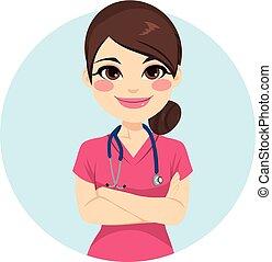 rosa, infermiera, uniforme