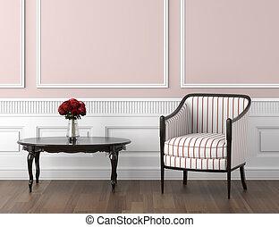 rosa, interno, bianco, classico