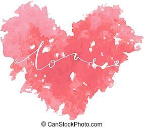 rosa, iscrizione, amare cuore, acquarello, scheda