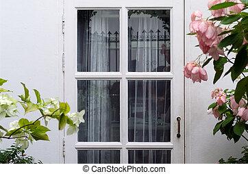 rosa, legno, fiore bianco, porta