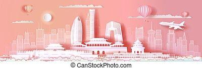 rosa, limiti, beijing, cityscape, viaggiare, asia, fondo.