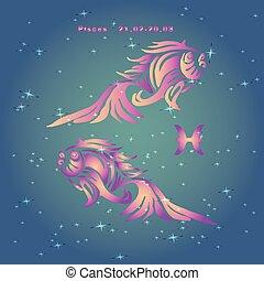 """rosa, luce blu, segno, stelle, fondo, zodiaco, """"fish"""""""