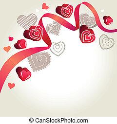rosa, luce, grigio, fondo, cuori, contorno, nastro