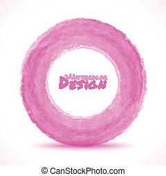 rosa, luce, mano, acquarello, disegnato, cerchio