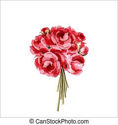 rosa, mazzolino, peonies, rosso