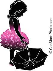 rosa, ombrello, poco, silhouette, ragazza