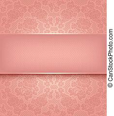 rosa, ornamentale, laccio, fondo, fiori, sagoma