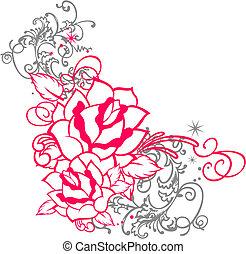 rosa, ornamento, rotolo, ritratto