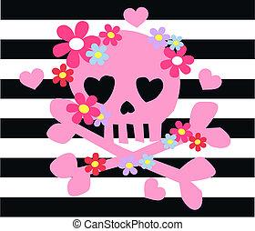 rosa, ossa, fiori, scull