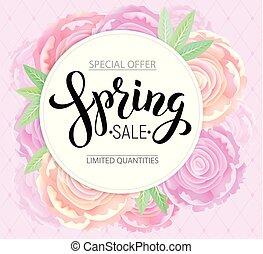 rosa, peonies, vendita, fondo, primavera