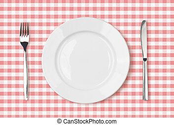 rosa, piastra, picnic, cima, stoffa, tavola cena, vuoto, vista