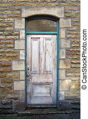 rosa, pietra, porta, afflitto, sbucciatura, cornice, vernice, pareti, verde, sbiadito, vecchio