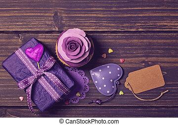 rosa, presente, cupcake