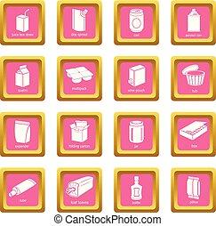rosa, quadrato, pacchetto, icone, vettore, set, tipi