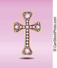 rosa, quarzo, cristiano, croce